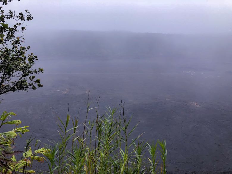 Foggy view over the Kilauea Iki crater in Hawaii Volcanoes National Park