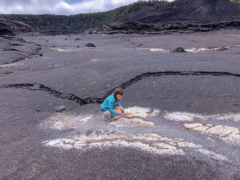 Feeling the heath through the Kilauea Iki crater floor in Volcanoes National Park