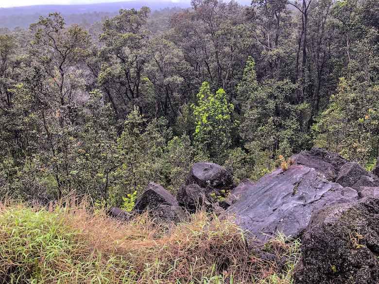 Boulders along the Kilauea Iki Trail on Big Island Hawaii