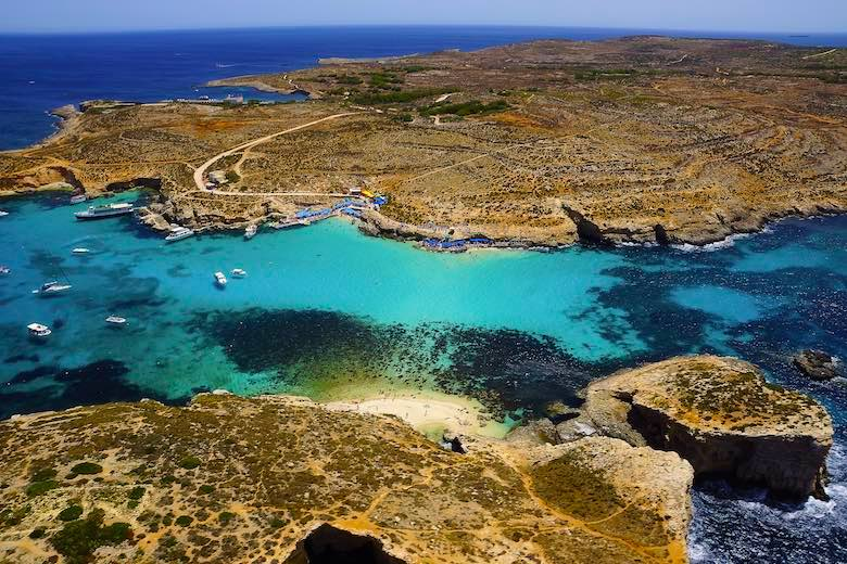 Blue Lagoon on Comino Island is one of the best beaches in Malta