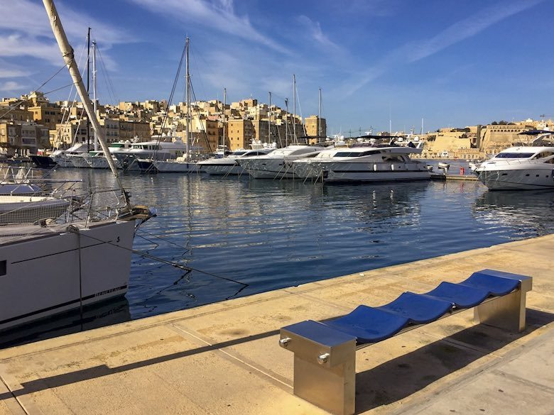 Yachts on anchor in the marina of Vittoriosa or Birgu, one of Three Cities Malta