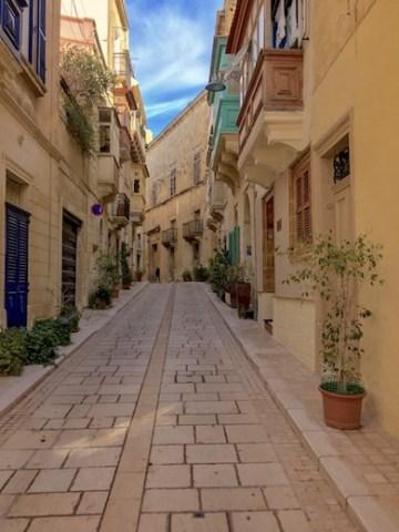 A quaint narrow street in the heart of Vittoriosa or Birgu in Malta