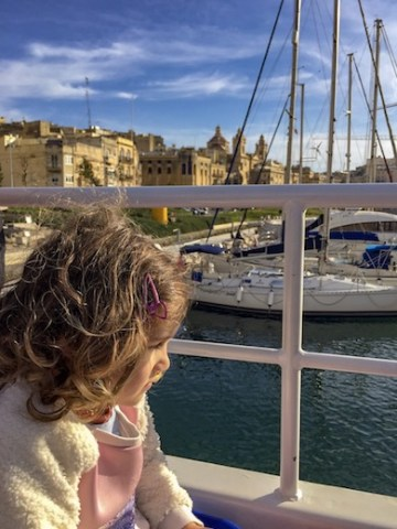 Little girl on a ferry between Valletta and Cospicua or Bormla