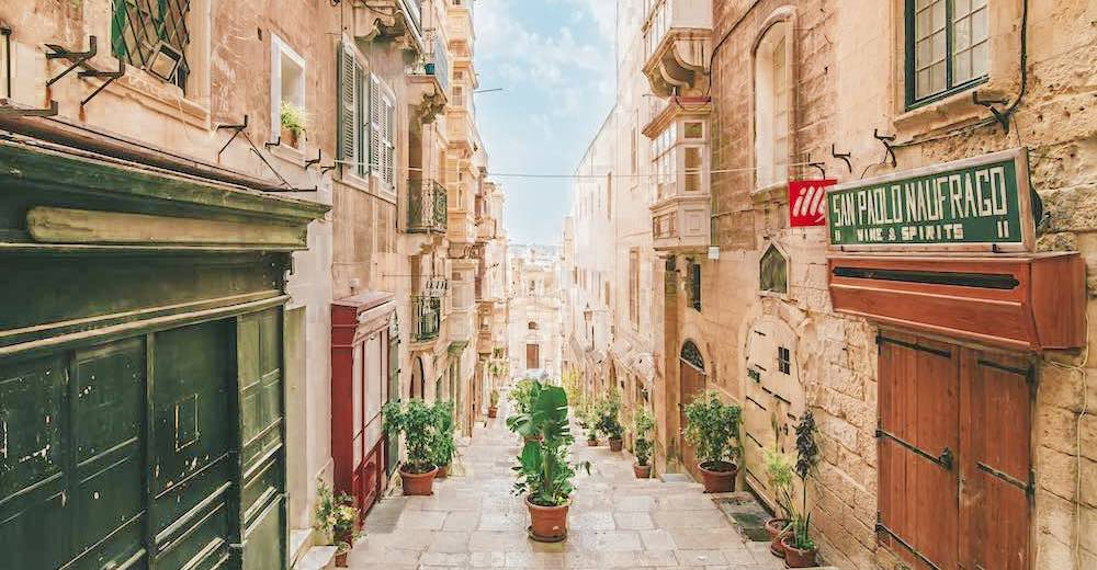 The quaint narrow streets of Valletta in Malta