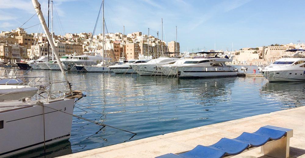 Luxury yachts anchored in the marina of Birgu - Vittoriosa, one of the Three Cities Malta