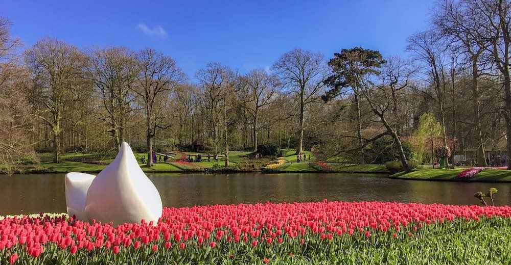 Sculptures dot the tulip fields at Keukenhof Gardens in Lisse