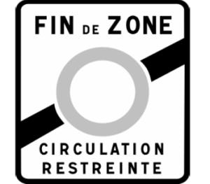 Verkeersbord om een ZCR-zone buiten te rijden met een milieuvignet voor Frankrijk