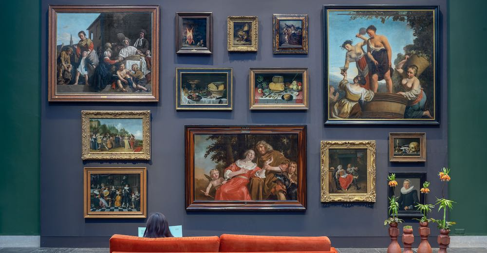 Paintings on the wall in the Frans Hals museum in Haarlem