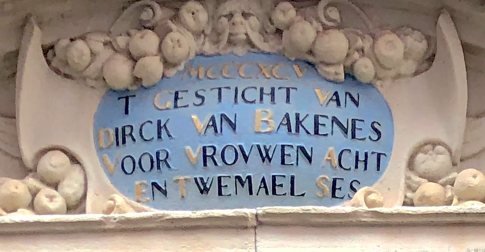 The keystone above the entrance of the Hofje van Bakenes, one of the top attractions in Haarlem Holland