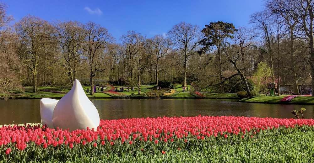 Manicured gardens of Keukenhof, Holland's famous tulip gardens near Amsterdam