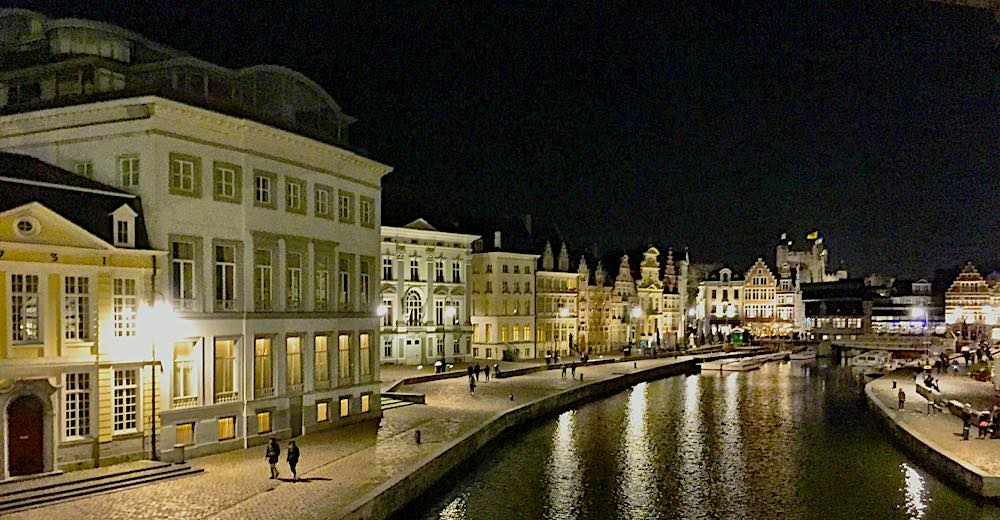 Enchanting night image of the Korenlei in Ghent, a perfect day trip from Brussels, Belgium
