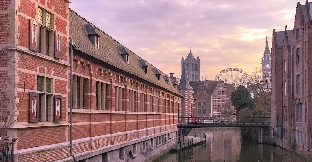 Cityscape of Ghent Belgium at sunset