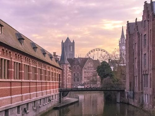 Sunset views over Ghent, Belgium