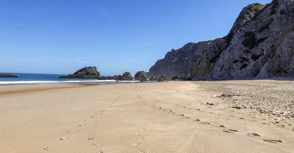 The wide beach of Praia da Adraga near Sintra