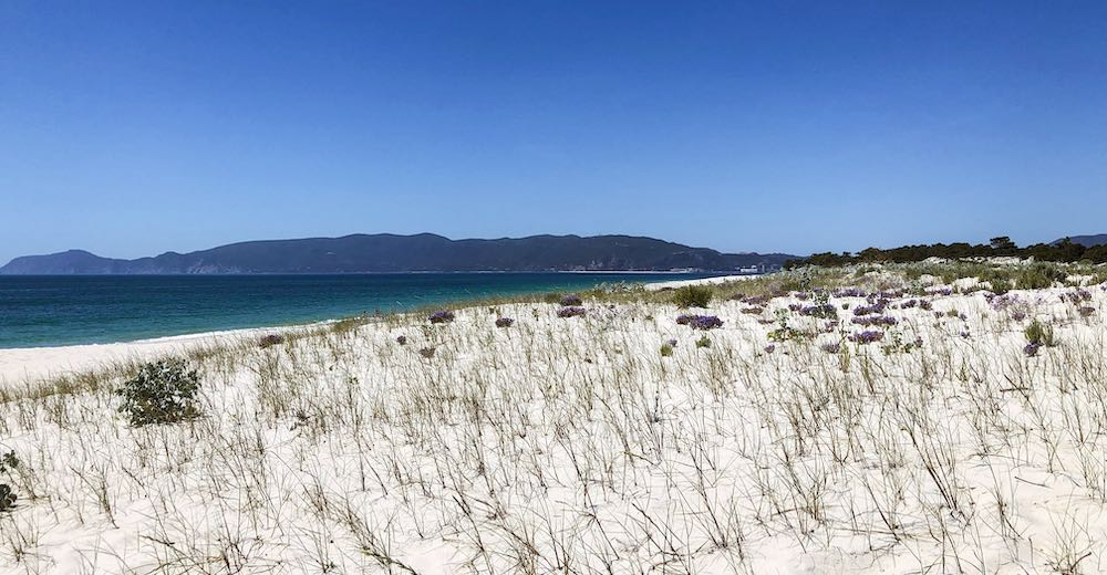 The white sand of the Portuguese beach of Praia da Troia at the Troia Peninsula