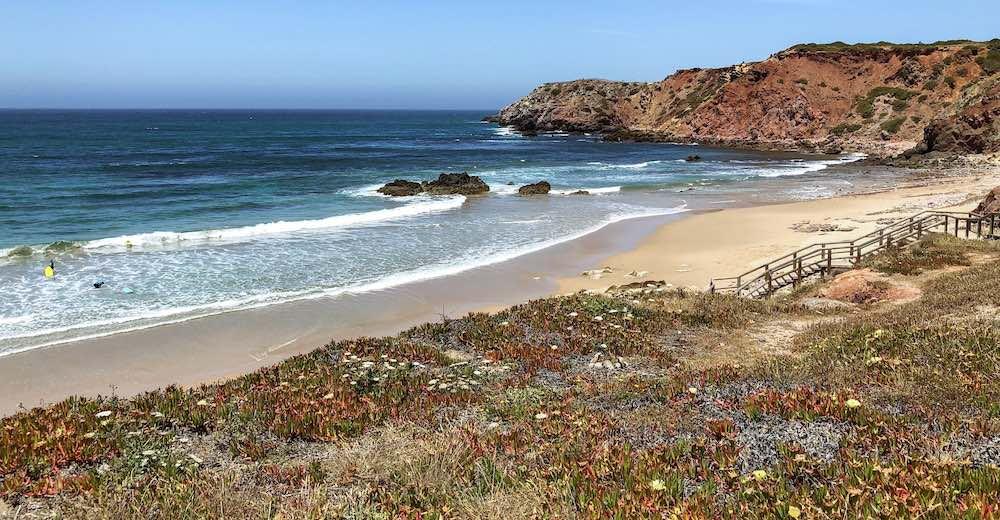 View over the Portuguese beach Praia do Amado beach