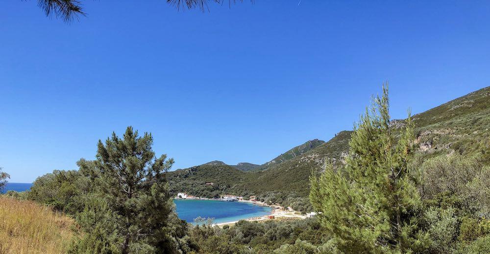 The blue waters of Praia do Creiro beach in the Portuguese Parque Natural de Arrabida near Lisbon