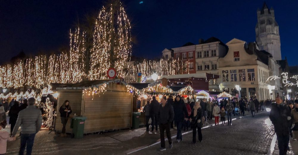 Bruges Christmas market at the Simon Stevin square