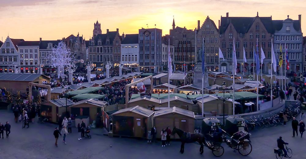 Brugge at Christmas as seen from the Historium during sunset
