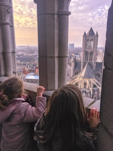Two little girls enjoying the view from the Ghent Belfry