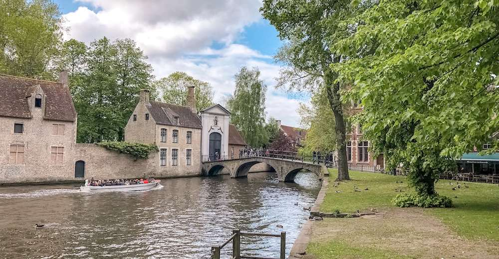 Canal tour at Minnewater in Bruges Belgium
