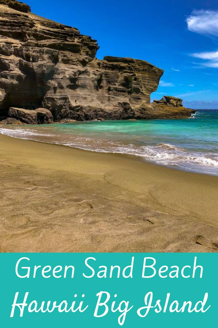 Find out everything about the unique green sand beach on Hawaii Big Island. Why it's green, where to find it and how to reach it plus other attractions nearby. #hawaii #beach #travel #bigisland