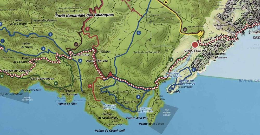 Map indicating the various Calanques hikes that start at the Port-Miou trailhead