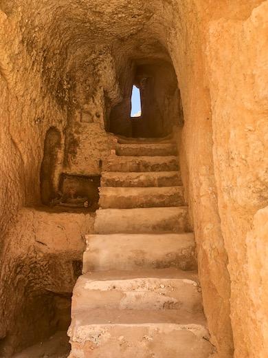 Staircase to Carvalho beach in seaside gem Carvoeiro in Algarve Portugal