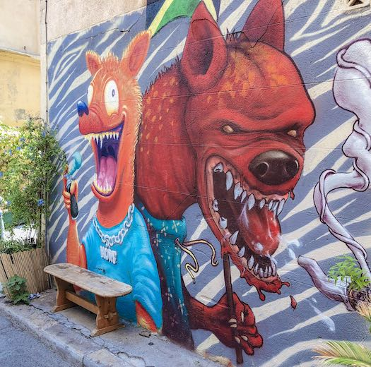 Colorful street art in Marseille France