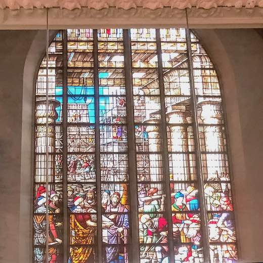Stained glass windows in the St Jan's church in Gouda Holland