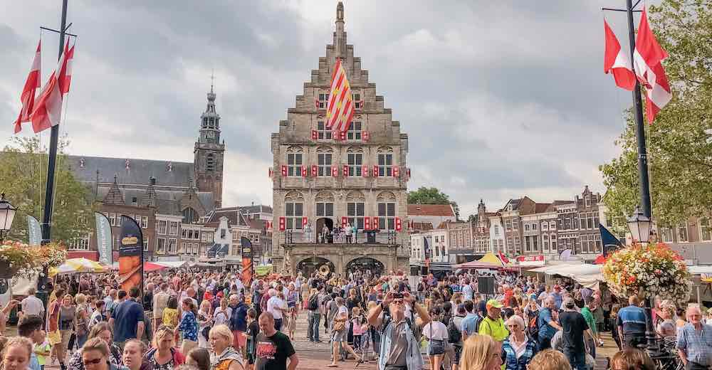 Beautiful Gouda city hall in The Netherlands, right behind the Gouda cheese market