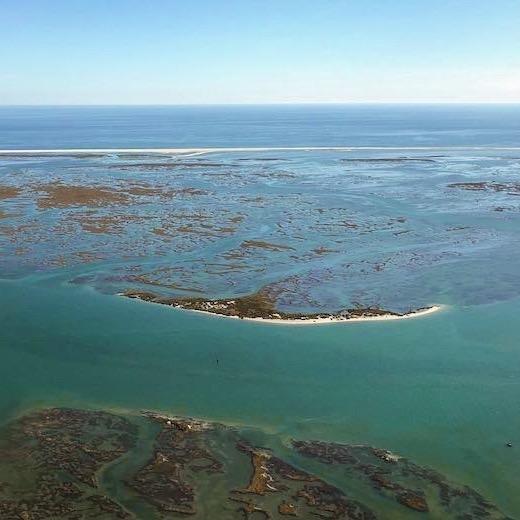 Aerial view over the Ria Formosa Natural Park in Faro Algarve
