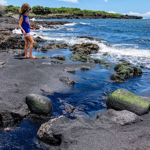 Punaluu is the most popular of black beaches in Hawaii