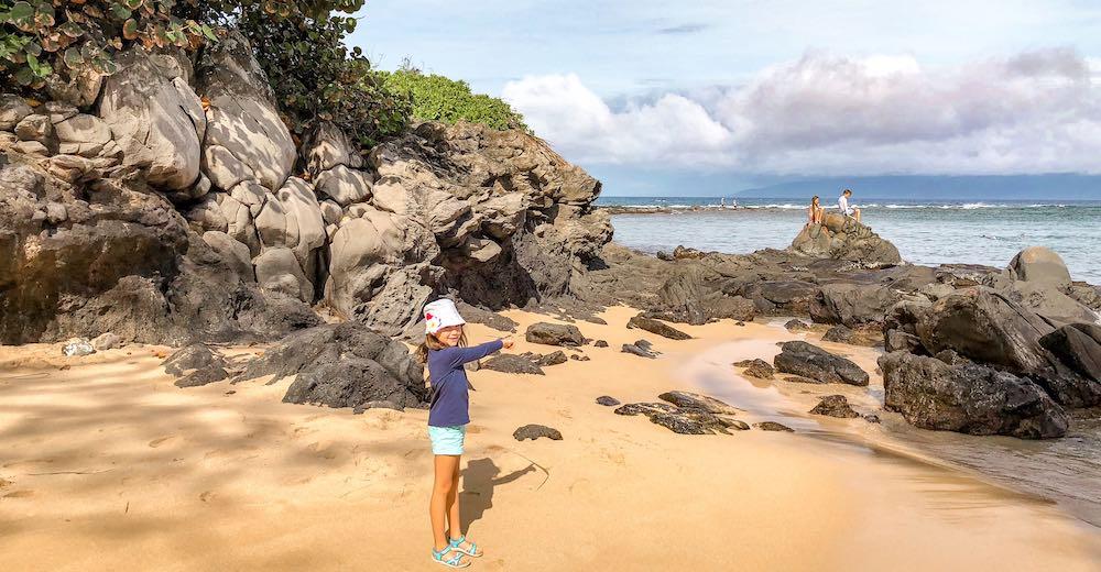 Little girl at Kapalua beach in Maui