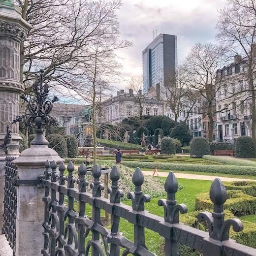 The Petit Sablon park with its interesting statues