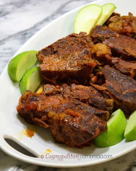 Apple BBQ Country Pork Ribs made in your slow cooker. Get the recipe at Cosmopolitan Cornbread