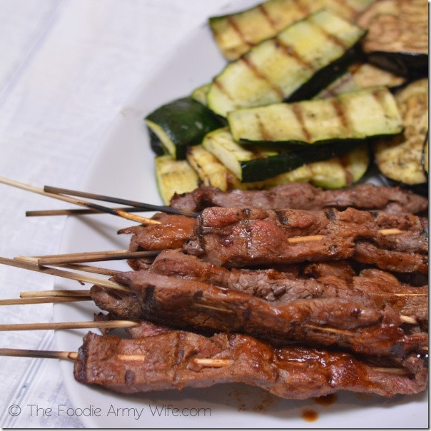 Beef Skewers with Grilled Vegetables from The Foodie Army Wife | TheFoodieArmyWife.com