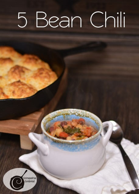 Delicious and Meatless Five Bean Chili - Get the recipe from Cosmopolitan Cornbread