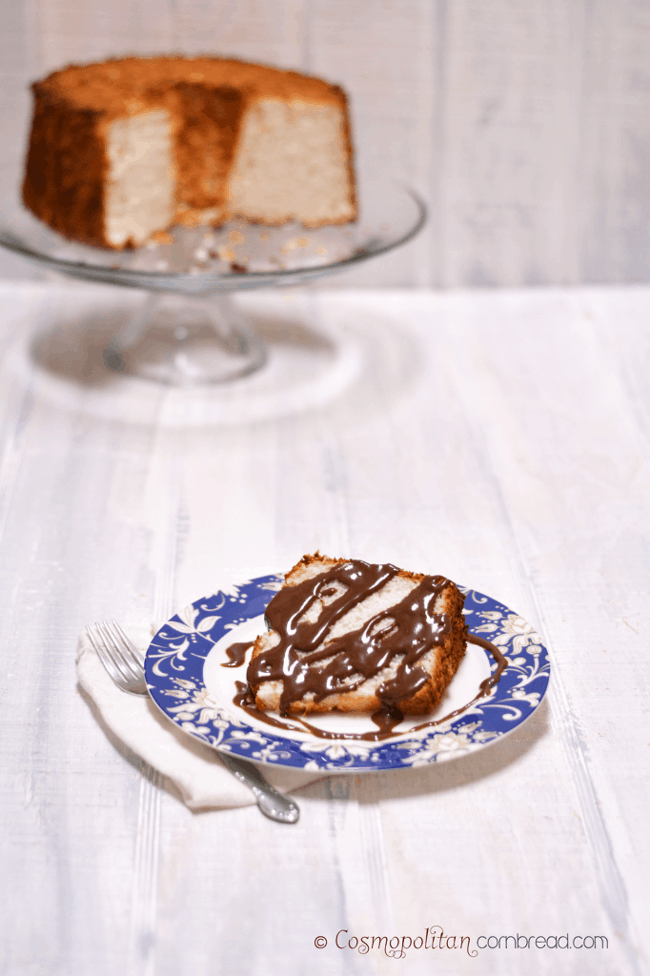 Angel Food Cake with Chocolate Gravy