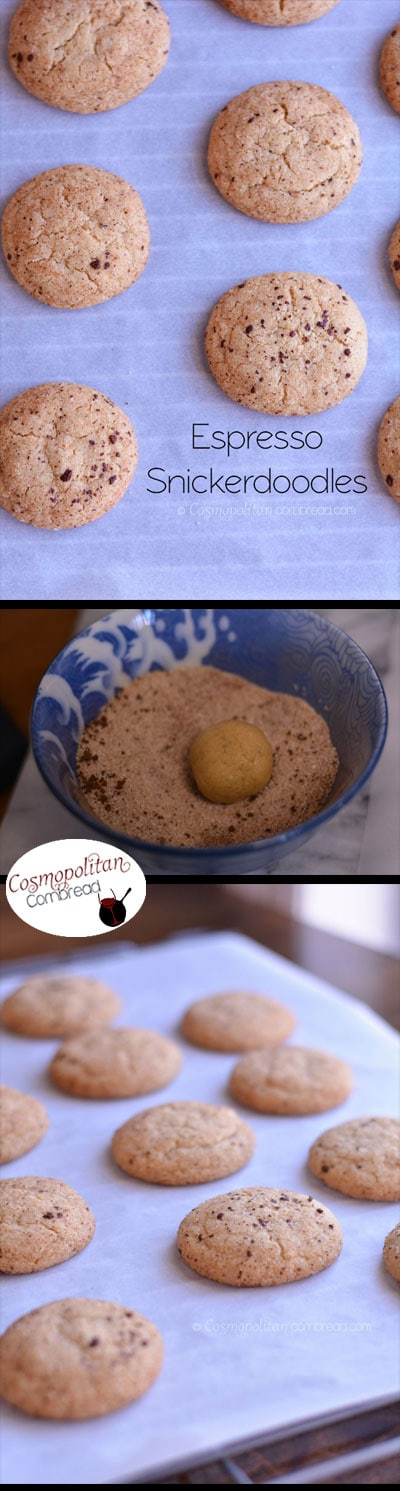 Espresso Snickerdoodles - heavenly little snickerdoodle cookies with just a kiss of espresso - Get the recipe from Cosmopolitan Cornbread