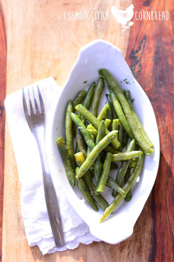 Bohnensalat - German Green Bean Salad is a delicious traditional side dish. Get the recipe from Cosmopolitan Cornbread