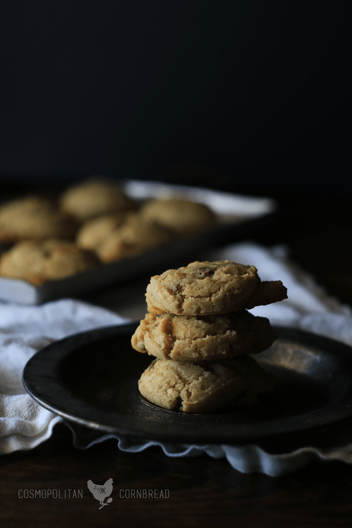 Toffee Bit Cookies - Buttery cookies with little tidbits of crunchy toffee. | Recipe from Cosmopolitan Cornbread.