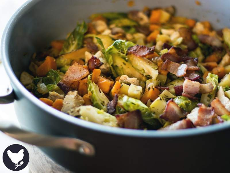 Chicken and Brussels Sprouts Skillet Supper