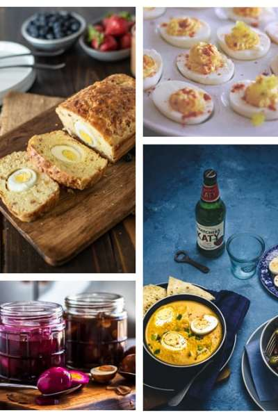 What do you do with hard boiled eggs? Easy! Check out this collection of 35 recipes that use up your leftover hard cooked eggs.