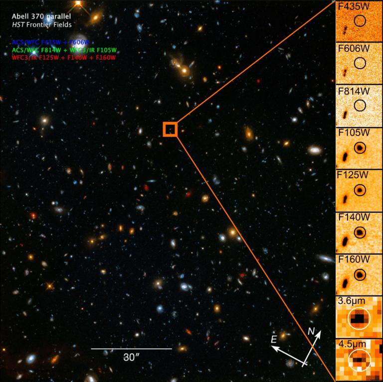 Luminous Galaxy Reionizing Surroundings 13 Billion Years Ago
