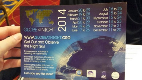 Globe at Night postcard