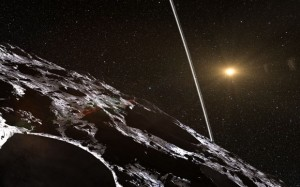 Artist's impression of what the rings of the asteroid Chariklo would look like from the small body's surface. Credit: ESO/L. Calçada/Nick Risinger (skysurvey.org)
