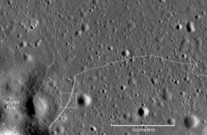 Detail map of the SW portion of the Lunokhod 2 traverse. White box indicates the location of the featured image. Credit: NASA/GSFC/Arizona State University