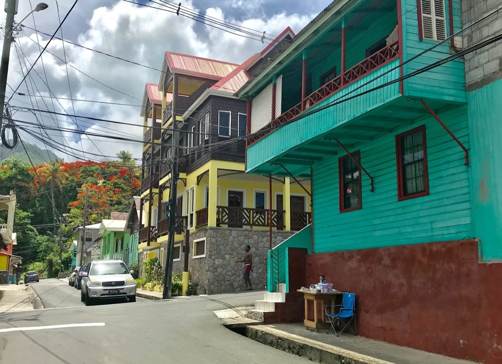 Colourful painted buildings on a street in Soufriere St Lucia