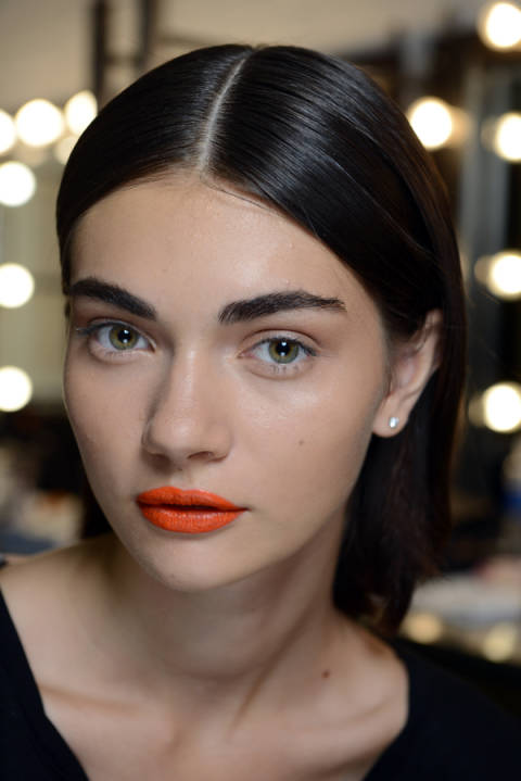 Finally, some hot lips! The makeup trend at Tanya Taylor was courtesy of NARS Playa Dorado Velvet Lip Liner and NARS Timanfaya Satin Lip Pencil. We're shopping them now.